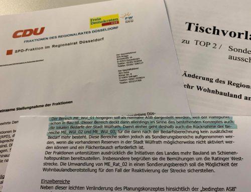 BI Düssel-West kritisiert Haltung von CDU, SPD, FDP/FW im Regionalrat